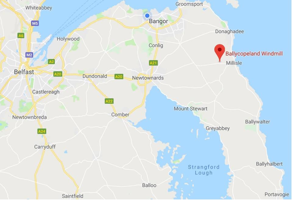Map to Ballycopeland Windmill Northern Ireland